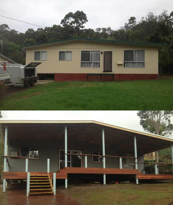 Photo of a before and after shot of an Asbestos removal + renovation